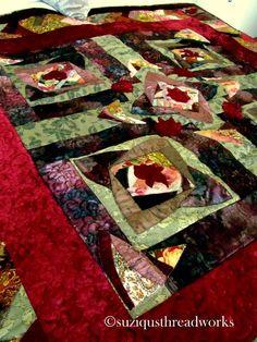 Vintage Velvet Log Cabin Mini Quilt Top | Bedroom re-do Red Green ... : velvet dreams quilt - Adamdwight.com