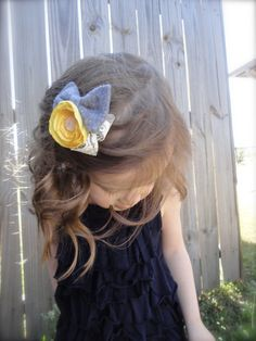 The Finley Mini - Gray & Yellow Flower Clip by tealandco on Etsy, $8.00