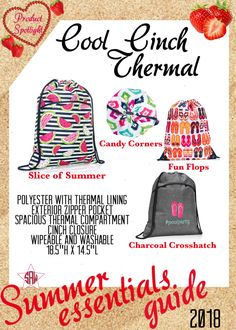 Graphic for VIP Facebook group or party. Cool cinch thermal Summer essentials product spotlight. Thirty-One spring/summer 2018 www.mythirtyone.ca/sabrinawhite