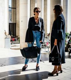 bell sleeves + denim + loafers.