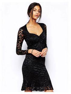 Black V-neck Long Sleeve Flouncing Dress