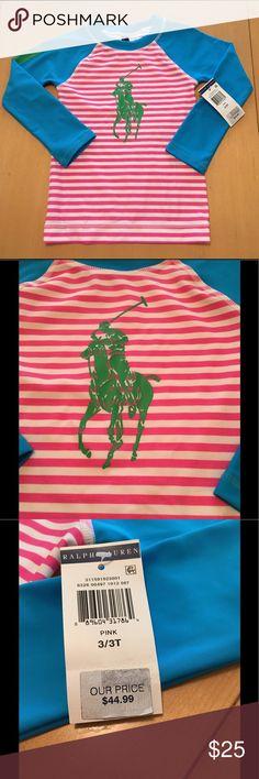 Girl's Polo Ralph Lauren RashGuard-3T Brand New girl's Polo Ralph Lauren Rashguard, size 3T, Pink & White stripes, green Polo symbol, blue sleeves, perfect condition Polo by Ralph Lauren Swim Rashguards