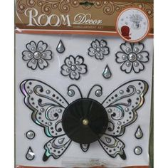 Room Decor, Butterfly Clock, Black