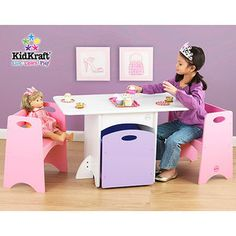 KidKraft - Table With Pink Benches