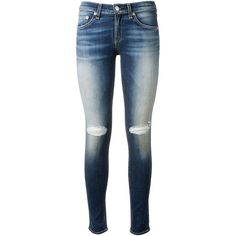 Rag & Bone Washed Blue Skinny Jeans (150 PAB) ❤ liked on Polyvore featuring jeans, pants, bottoms, calças, skinny jeans, blue jeans, skinny fit denim jeans, rag bone skinny jeans and 5 pocket jeans