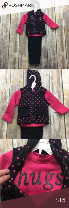 Beverly Hills 3 Piece Set Vest & Sweater & Sweats 3 Piece Set comes with vest pants and sweater. New with tags. Size 12 months. sweater says hugs. Adorable polka dot print. Light super soft material. Beverly Hills Matching Sets