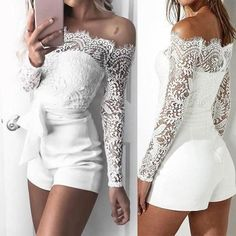 Country Wedding Dresses With Boots The Bride 2018 summer New white Lace Jumpsuit Bodysuits Women Sexy Ladies Elegan geekbuyig White Lace Jumpsuit, White Playsuit, Playsuit Romper, White Long Sleeve Jumpsuit, White Lace Shorts, Short Playsuit, Long Romper, Long Sleeve Romper, Overall Shorts