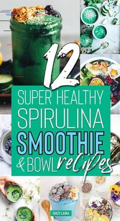 12 Healthy Spirulina Smoothie & Bowl Recipes - Crazy Laura Check out these amazing spirulina smoothie bowl recipes with superfoods and more! Smoothie Detox Plan, Smoothie Prep, Vegan Smoothies, Fruit Smoothies, Chocolate Smoothies, Green Smoothie Recipes, Spirulina Powder, Superfood Powder, Blue Spirulina