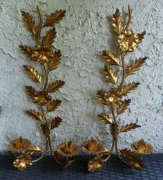 Italian tole candle sconces. Glitzy and large.