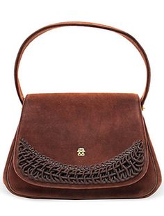 [vintagecouture.com] - Brown Suede Bag - 1950's - Koret