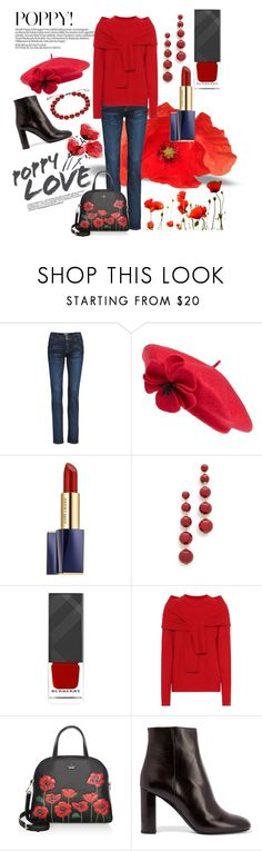 """""""Hats Off!! Contest/""""POPPY BERET TO TOP THINGS OFF!!"""""""" by lensesrmything ❤ liked on Polyvore featuring Hudson Jeans, Kate Spade, Estée Lauder, Burberry, Isa Arfen, Yves Saint Laurent and Gucci"""