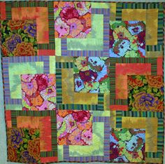 BQ with Kaffe Fassett, quilt for sale at Quilt Gallery, combining shot cottons with floral prints