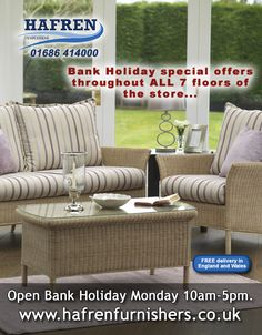 Hafren Furnishers - Bank Holiday Facebook Post Outdoor Furniture Sets, Outdoor Decor, Bank Holiday, Promote Your Business, Can Design, Business Marketing, Wales, Designers, Social Media