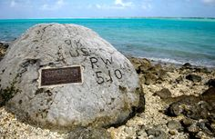 On Wake Island in the Japanese execute 97 captured Americans by machine gun. Only 1 man escapes the slaughter and carves 98 US PW on large coral rock as an attempt to document the atrocity. He is later captured and beheaded. It is still there today. Battle Of Wake Island, Islands In The Pacific, Pacific Ocean, South Pacific, Shot In The Dark, Today In History, Prisoners Of War, Pearl Harbor, Interesting History