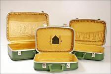 3 PC Vtg LUGGAGE SET green hard shell suitcase nesting avocado mid century 60s