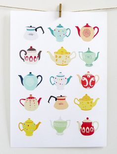 Tea for two? UK designer and illustrator Laura Amiss showcases a delightful collection of vintage-inspired tea pot and tea cup prints and patterns. Art And Illustration, Grafic Design, Tee Kunst, Buch Design, Deco Addict, Poster S, Vintage Kitchen Decor, Tea Art, My Tea