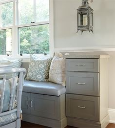 kitchen banquet with storage | built in banquette offers extra storage in cabinets beneath the seat ...
