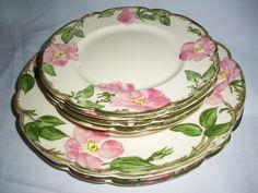 Franciscan Desert Rose Pink Flowers  3 dinner plates + 4 salad plates used #franciscan