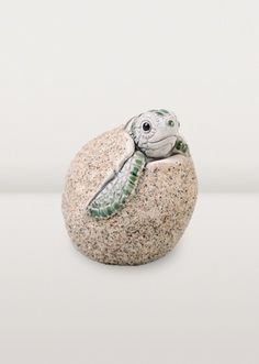 Ce bébé tortue sort de son magnifique œuf en céramique. De toute beauté!