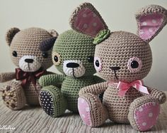 PATTERN - Amigurumi cuties - bunny, puppy and teddy - crochet pattern, amigurumi pattern, pdf