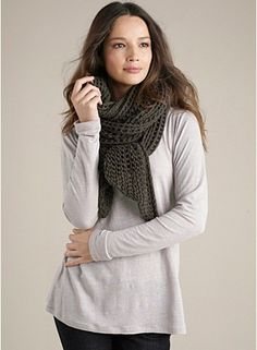 Scarf in Melange Cotton Comfort Web  An open stitch in a knit that's a staff favorite for its light, cozy feel. Again in Rye.