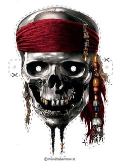 Maschera di Carnevale del pirata dei Caraibi da stampare gratis e ritagliare