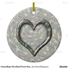Camouflage Woodland Forest Heart  Double-Sided Ceramic   Christmas Ornament by #Camouflage4you #gravityx9 -