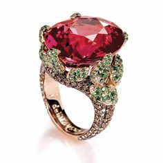 De Grisogono pink gold ring set with a rubellite totaling carats, 272 brown diamonds totaling carats, 234 emeralds totaling carats and 26 colorless diamonds totaling carat. Gems Jewelry, High Jewelry, Bling Jewelry, Jewelry Box, Jewelry Accessories, Jewelry Design, Unique Jewelry, International Jewelry, Jewelry Trends