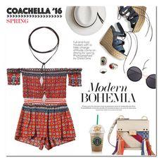 """Coachella Printed Coord"" by akchesunel ❤ liked on Polyvore featuring Vanessa Mooney, Calypso Private Label, Stuart Weitzman, Chloé, Linda Farrow, MANGO, Zimmermann, boho, Bohemian and coachella"