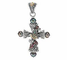 Barbara Bixby Sterling/18K Cultured Pearl Butterfly Cross Enhancer