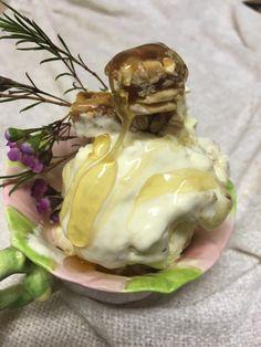 Honey, macadamia nougat, fresh cream and peanut brittle ice cream Fresh Cream, Ice Cream, Peanut Brittle, Honey, Baking, Breakfast, Food, No Churn Ice Cream, Morning Coffee