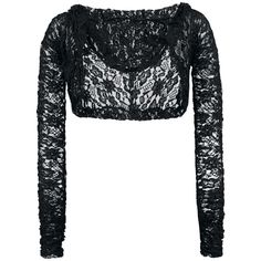 Transparent Black lace bolero top with long sleeves and a hood 100% polyester