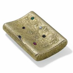 Fabergé jewelled two-colour gold samorodok cigarette case, Moscow, 1899-1908