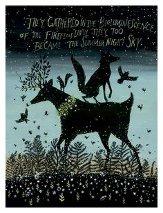 folk — Diana Sudyka. Bioluminescence of the fireflies in the summer night sky.