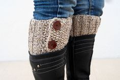 Beige Brown Boot Toppers, Beige Brown Boot Cuffs,Clasp