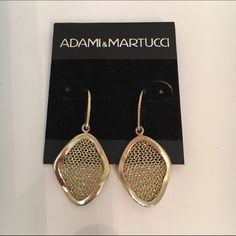 Adami & Martucci Gold Chain Mesh Drop Earrings Adami & Martucci Chain Mesh Earrings in great condition. Gold plated over .925 stamped silver. Some light tarnishing on the posts. Adami & Martucci Jewelry Earrings