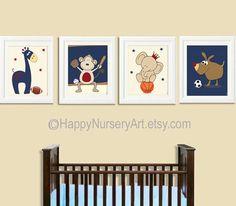 Sports nursery wall art, kids art, soccer, football, basket ball, baseball, navy blue, yellow, red, baby boy wall art prints set of 4