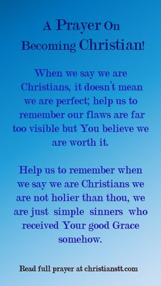 Prayer on becoming a Christian