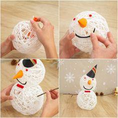 Schneemann aus Wollgarn basteln schöne Weihnachtsdeko für Zuhause