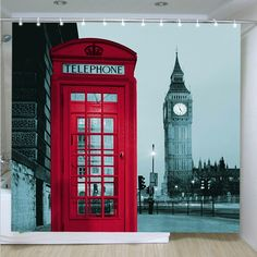 "Famous City Landmark Pattern Fabric Shower Curtain, 72"" By 72"" (London)"