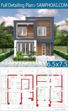 Home Design Plan 2 Bedrooms – SamPhoas Plan – House Design Simple House Design, House Front Design, Tiny House Design, Modern House Design, Duplex House Plans, Small House Plans, House Floor Plans, Casas The Sims 4, House Construction Plan