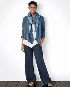 Image of Wide-leg Linen Trousers