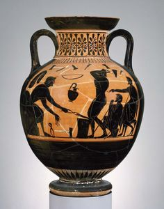 A workman with tongs hasjust removed a heated piece ofiron from the forge, and holds it on the anvil; his colleague hoists his mallet aloft to beat the iron into shape, under the watchful eyes of two well-dressed gentlemen. Attic black-figured amphora, 6th century B.C. Museum of Fine Arts, Boston.