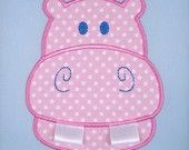 Embroidery Design for Machine Embroidery - Applique - Hippo with Ribbon Teeth - Two Sizes 4x4 and 5x7