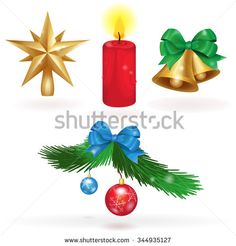 Set christmas icons in vector. Christmas star, bells, candle and the branch of a Christmas tree with decorations.