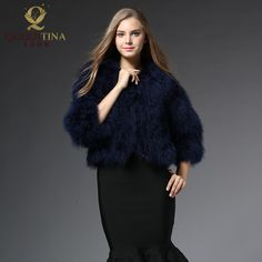 2017 New Fashion Women Winter Real Fur Coat Outwear Jacket Blue Natural Ostrich Feather Turkey Fur Vest Genuine Ostrich Fur Coat