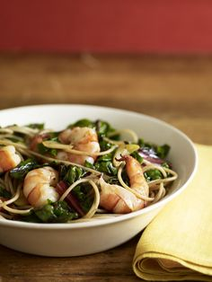 Sauteed Shrimp and Red Chard from familycircle.com #myplate #pasta #shrimp