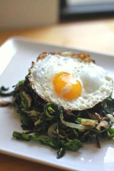 Sauteéd Shiitake and Broccoli Rabe with Fried Egg