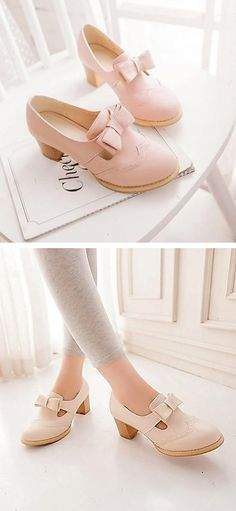 Pink bow oxfords