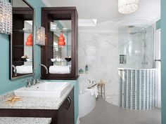 Designer Cheryl Kees Clendenon transforms a master bathroom into a colorful retreat to meet the needs of aging homeowners.
